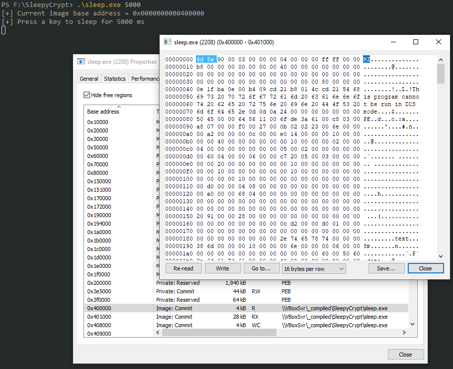 PE headers unencrypted